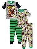 LEGO Jurassic World Boy's 2fer 4 Piece Short Sleeve Cotton Pajamas Set (4, Green/Grey)