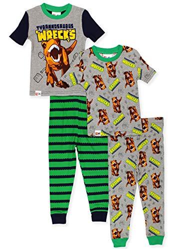 LEGO Jurassic World Boy's 2fer 4 Piece Short Sleeve Cotton Pajamas Set (8, Green/Grey)