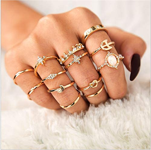Sither 13 Pcs Women Rings Set Knuckle Rings Gold Bohemian Rings for Girls Vintage Gem Crystal product image