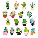 Souarts 17Pcs Cartoons Cactus Enamel Brooch Pin Set, Cute Enamel Lapel Cartoon Brooch Pin, Badges Brooch for DIY Clothes T-shirt Jackets Bags Backpacks Lapel Pin Set