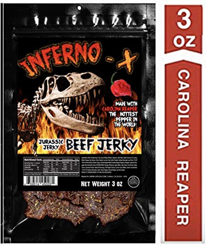 INFERNO -X Carolina Reaper Beef Jerky 3 oz Made with the the HOTTEST PEPPER in the WORLD!! Seasoned with a special blend of Carolina Reaper Peppers and tasty spices. Sweet with Heat! (1 Pack)