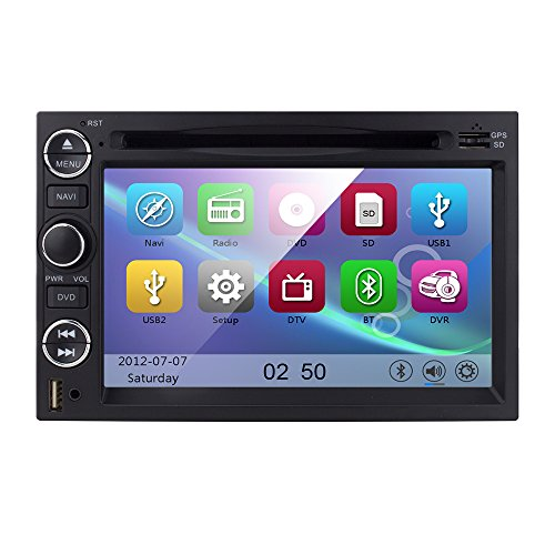 Fit Ford F-150 F-250/350/450/550 Mustang in-Dash DVD GPS Navigation Stereo BT Steering Wheel Ctrl iPod iPhone-Ready Deck AV Receiver Player Stereo Video Audio Support TV Rearview Cam OEM Replacement