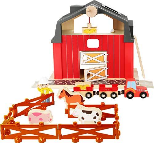 small foot 10800 Azienda agricola con accessori, compreso trattore con rimorchi, animali con recinzione e contadino, a partire da 3 anni