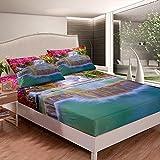 Juego de sábanas con diseño de cascada, color rosa y naranja, juego de sábanas para niños y niñas, paisaje natural, vista de plantas, sábana bajera con 2 fundas de almohada, 3 piezas, cama king
