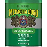 Medaglia D'Oro Italian Roast Decaffeinated Espresso Ground Coffee, 10 Ounces