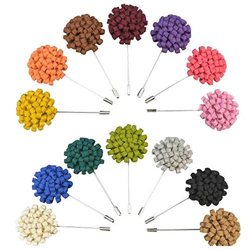 Soleebee YM001 Ansteckblumen Gemischt zufällig Herren Handgefertigt Revers Pin Blume Set im Knopfloch Schläger Revers Krawatte Brosche Wollstoff-Blume Boutonniere für Anzug (zufällig 15 Stück)