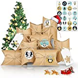 Christmas Advent Calendar 2020, 24 Days Christmas Advent Calendar Bags with 24 Number Stickers, Fillable DIY Xmas Countdown Christmas Decorations, DIY Candy Bags for Holiday Xmas (Gray + white)