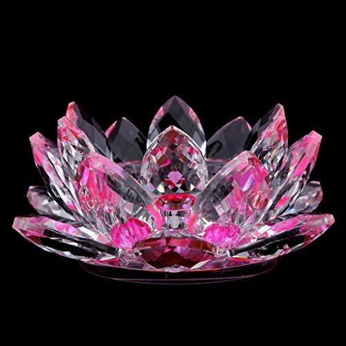 FLAMEER Kristallglas Lotus Blume Teelichthalter Kerzenhalter Kerze Teelicht Ständer Dekoartikel für Wohnzimmer Haus Büro - Rosa
