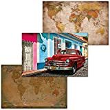 GREAT ART Juego de 3 Carteles XXL – Juego Retro Cubano – Aspecto Retro y Vintage Mapa del Mundo Cuba Che Guevara Street View Mural de Pared Interior Póster Cada uno 140 x 100 cm