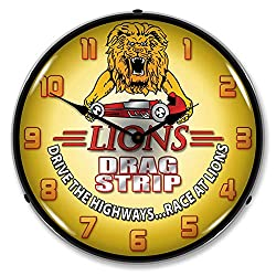 Lions Drag Strip Drive The Highways.Race at Lions LED Wall Clock, Retro/Vintage, Lighted, 14 inch