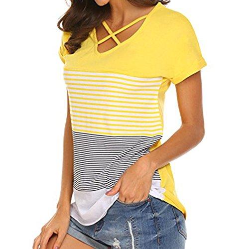 MRULIC Frauen Damen Streifen Splice T-Shirt Kurzarm Casual Tops Bluse Sommer Trikot(Gelb,EU-38/CN-M)