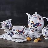 Abkaeh Ceramic Teapot Porcelain Teapot English Afternoon Tea Set Bone China European Cup Saucer Teapot Black Tea Coffee Cup Dish Snack Plate Four Sets