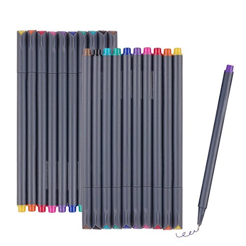 UeeSum Fineliner Color Pen Set of 20, Coloring Fine Line Art Drawing Pens 0.38mm, 10 Colors Fine Point Paint Markers for Bullet Journal, Planner and Coloring Book