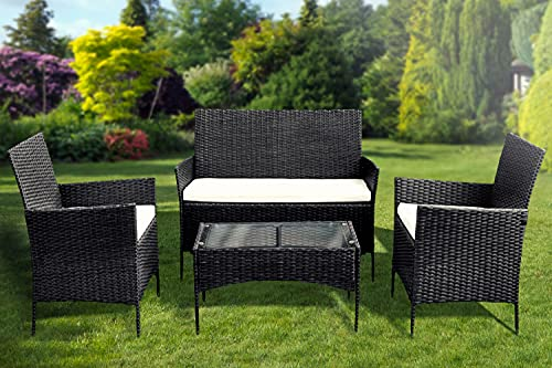 KEPLIN 4pc Rattan Garden Furniture Set – Outdoor Lounger Sofa, Chairs and Table Bistro Set for Lawn, Patio, Inside Conservatory – Easy to Store, Stackable, Ideal for Dining in the Sun - Black