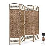 Relaxdays-Biombo Plegable de 4Paneles de bambú, Separa y Protege de la luz, 179x 180x 2cm (Alto x Largo x Ancho), Color Blanco