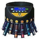 Securina24 Contador de monedas Euro SR1200LCD con casillas y dispositivo enrollador (negro - BGB - LCD)
