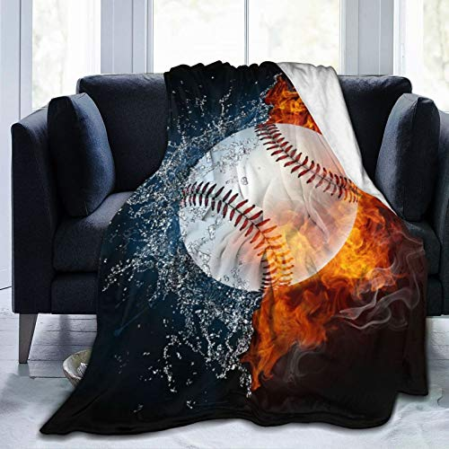 "Janrely Plush Throw Blanket for All Seasons Soft Lightweight Warm,Funny Baseball Ball in Fire and Water Best,Comfortable Bed Blanket Travel Bed Couch Quilt,40"" X 50"""