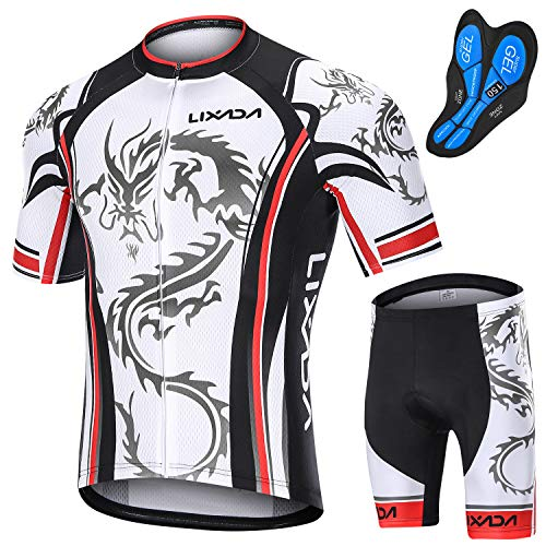 KKmoon Conjunto masculino de ciclismo de secagem rápida camiseta para bicicleta de estrada Shorts para bicicleta de corrida kit de roupas de equitação