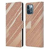 Head Case Designs Licenza Ufficiale Alyn Spiller Spazzolato Rosa Oro Cover in Pelle a Portafoglio Compatibile con Apple iPhone 12 PRO Max