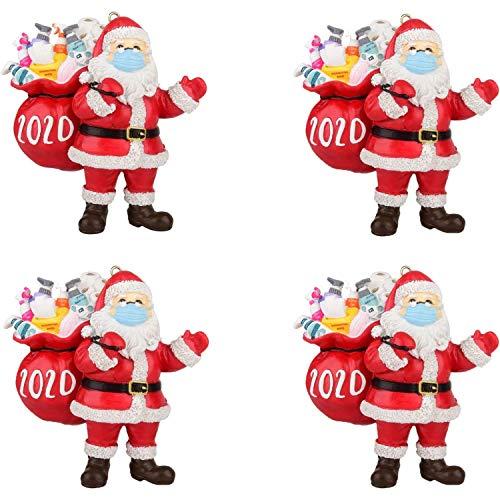 2020 Christmas Santa Ornaments, Santa Wearing Facial Cover and Carrying a Gift Bag 2020 Ornament Xmas Hanging Pendant Decor for Christmas Tree Decorations (4PCS)