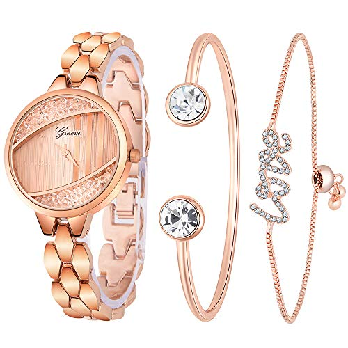Damen Bling-Ed Out Diamant Armbanduhr Armreif Schmuck Set Analog Quarz Armbanduhr für Damen