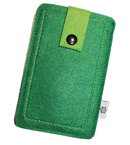 Dealbude24 Filz-Tasche für Apple iPhone SE 2020, Hochwertige Handy-hülle, Schutz-Tasche mit Herausziehband und Drucknopf, Etui stoßfest, weich und reißfest - M in Grün