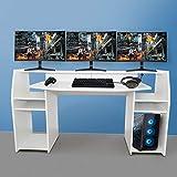 Gaming Tisch inkl. LED RGB Beleuchtung, Setup Gamer Ablagen, Ultra Wide TV...