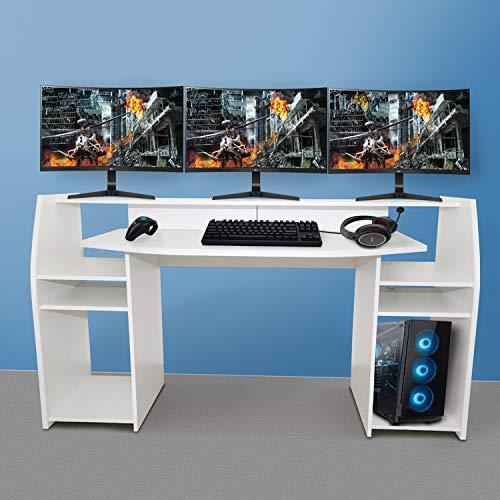 Gaming Tisch inkl. LED RGB Beleuchtung, Setup Gamer Ablagen, Ultra Wide TV Monitor geeignet Weiss matt by Wohnorama