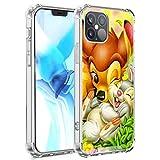 DISNEY COLLECTION Custodia trasparente per iPhone 12 Cute Little Spot And Little Bunny Hard PC Cover posteriore con 4 angoli Slim Cover protettiva per ragazze e donne