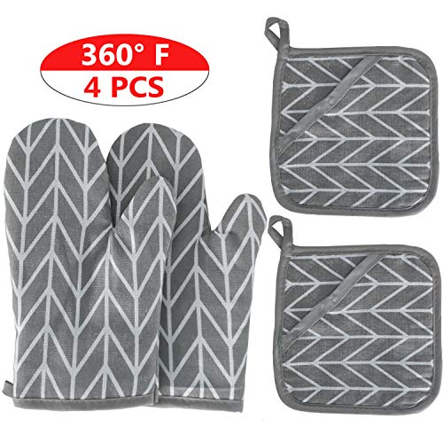2 Oven Mitts and 2 Pot Holders Set Soft Cotton Lining with NonSlip Surface Heat Resistant Kitchen Microwave Gloves for Baking Cooking Grilling BBQ Grey