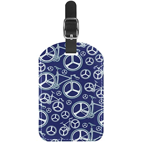 Luggage Tags Bikes and Wheels on Blue Leather Travel Suitcase Labels 1 Packs