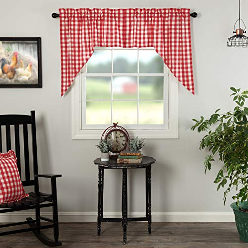 VHC Brands Annie Buffalo Check Curtain, Swag Set 36x36x16, Red