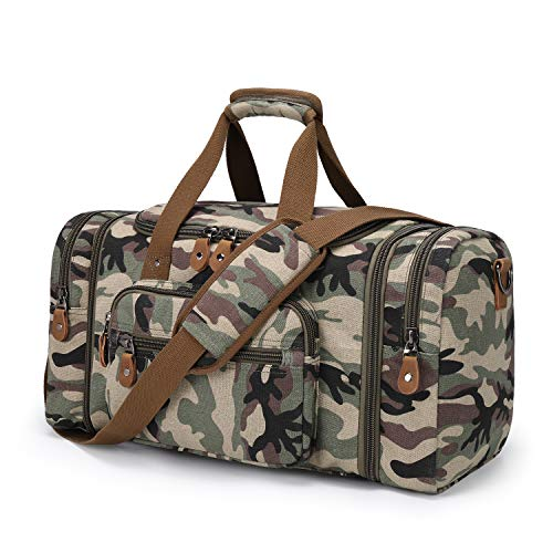 Plambag Canvas Duffle Bag for Travel, 60L Duffel Overnight Weekend Bag