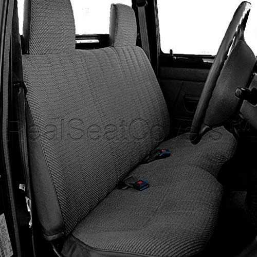 "RealSeatCovers for Front Bench A25 Triple Stitched Molded Headrests Seat Belt Cutout Small 2"" to 3"" Shifter Cutout Seat Cover for Toyota Pickup 1984-1995 (Charcoal)"