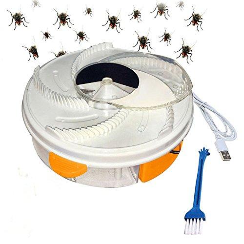 Yefun Dispositivo Automatico Trappola moschicida UV Elettrico Viola con Alimentazione per Trappola + Cavo USB + attrezzo per spazzole (Yellow)