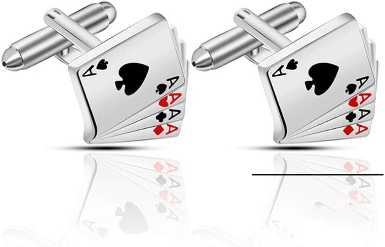 ZNBJJWCP Vintage 4A Poker Creative Cufflinks for Men Exquisite Business Cuff Links Suits Men Shirts Cuff Button Game Poker