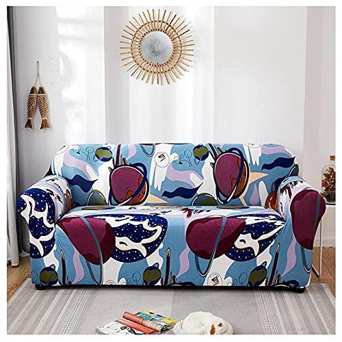Protector Sofa,Moderno Creativo Azul Abstracto Estrella Graffiti Estampado Moda Súper Elástico Antideslizante Resistente A Las Arrugas Funda De Sofá con Funda De Almohada para Perros,Gatos,Mascot