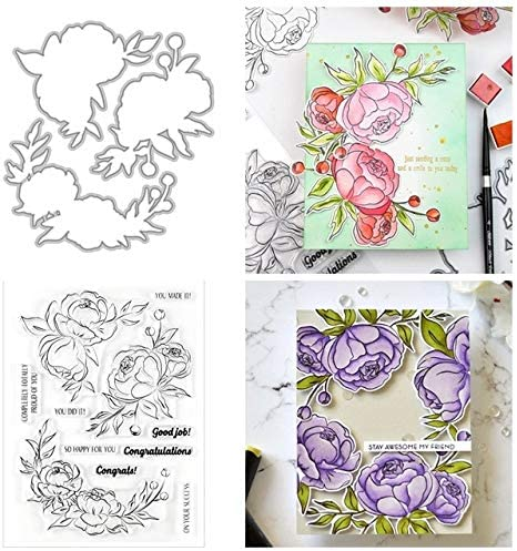 SELDIE free 6x8 inch Flower Letter Stamps Clear Di Award-winning store Coordinate Cutting
