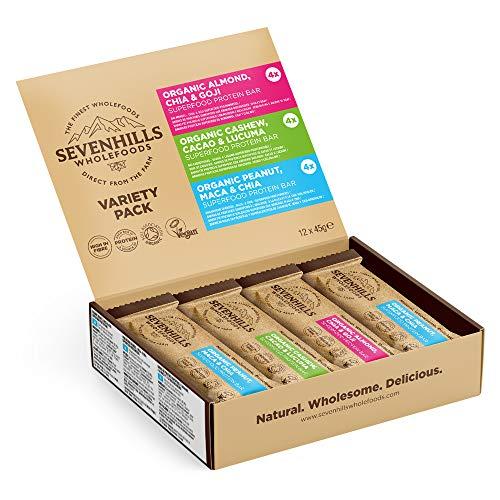 Sevenhills Wholefoods Pack de variétés de barres de protéines de fruits et noix bio 12 x 45 g