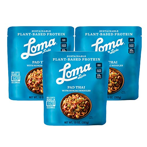 Loma Linda Blue - Plant-Based Complete Meal Solution - Spicy Pad Thai (10 oz.) (Pack of 3) - Non-GMO, Gluten Free