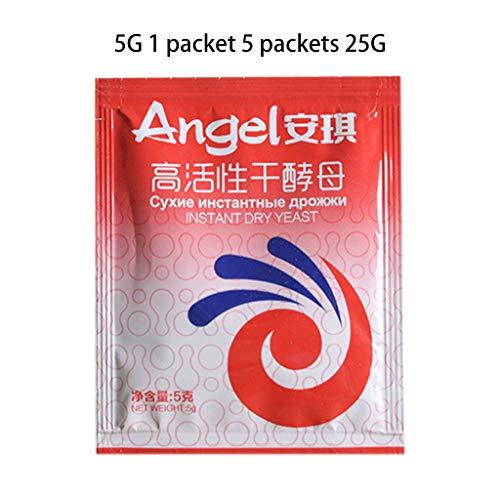 KINTRADE 5 Beutel 25 g Niedrige Glukosetoleranz Hochaktives Instant-Trockenhefepulver für gedämpfte Brötchen Backmaterial Küchenkochzubehör