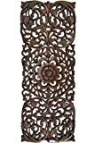 Tropical Wood Panel Home Decor/Headboard. Wood Carved Floral Wall Art Size 35.5'x13.5' Extra Thick (Dark Brown)