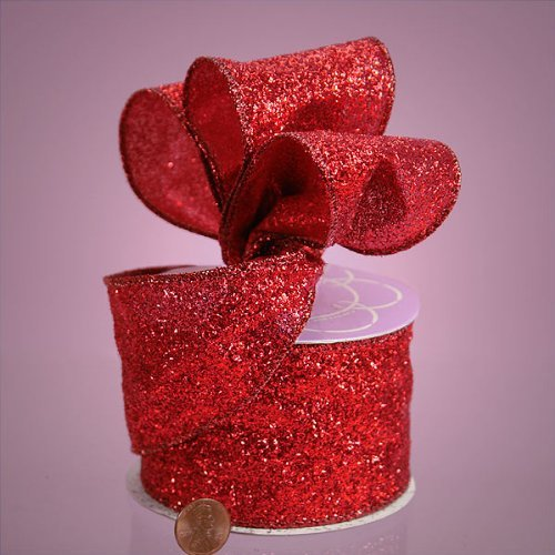 GRAND GLITTER WIRED FABRIC RIBBON - 10 yards by 2 1/2' (Red)