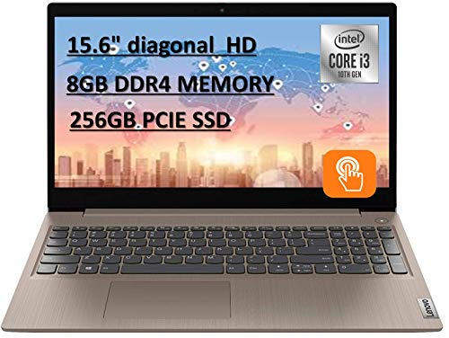 """2020 Powerful Lenovo IdeaPad 15.6"""" HD Touch Screen Laptop, 10th Intel Core i3-1005G1 up to 3.40GHz, 8GB RAM, 256GB PCIe SSD, Dolby Audio, Webcam, Windows 10S, Almond, with E.S Holiday 32GB USB Card"""