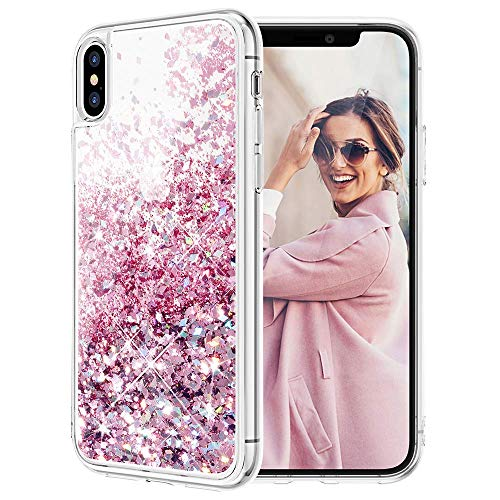 Caka iPhone X Case, iPhone Xs Glitter Case Liquid Series Girls Luxury Fashion Bling Flowing Liquid Floating Sparkle Glitter Cute Soft TPU Case for iPhone X XS (Rose Gold)