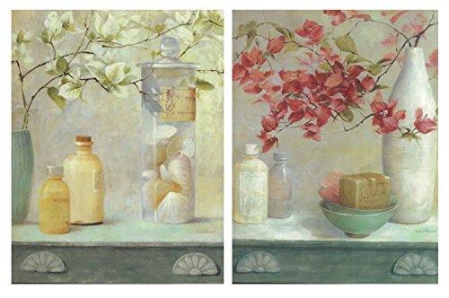 Cuadros decoración Floral de Madera. Set de 2 Unidades de 19 cm x 25 cm x 4 mm unid. Adhesivo FÁCIL COLGADO. Adorno Decorativo. Decoración Pared hogar