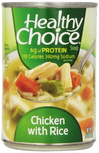 Healthy Choice Soup 5 Chicken Noodle and 5 Chicken with Rice Variety Pack, 15 oz. cans