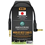1 Foot - Guitar Bass Instrument Cable Custom Made by WORLDS BEST CABLES – Using Mogami 2524 Wire and Neutrik NP2RX-B & NP2X-B ¼ Inch (6.35mm) Gold TS Connectors