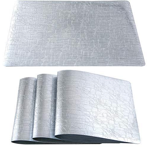 Qualsen Paquete de 4 Mantel Individual, Manteles Individuales Plastico, Individuales de Mesa, PVC Antideslizantes Mantel Conjunto,(Plata, Grieta de Vidrio)