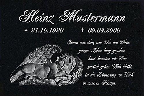 LaserArt24 Granit Grabstein, Grabplatte oder Grabschmuck mit dem Motiv Grabstein-ag23 und Ihrem Text/Daten